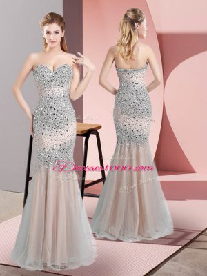 Cheap Floor Length Champagne Prom Evening Gown Sweetheart Sleeveless Zipper