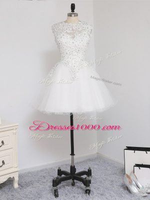 Sexy White A-line Beading and Lace and Appliques Homecoming Dress Zipper Tulle Sleeveless Mini Length