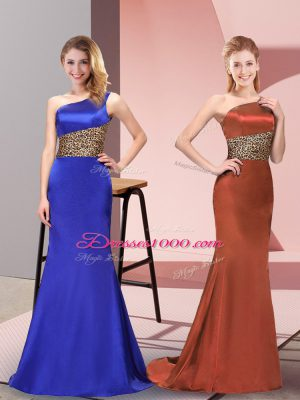 Royal Blue Column/Sheath Pattern Evening Dress Side Zipper Elastic Woven Satin Sleeveless Floor Length