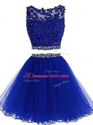 Mini Length Royal Blue Cocktail Dresses Tulle Sleeveless Beading and Lace and Appliques