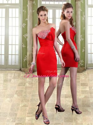 Dramatic Red Sweetheart Lace Up Beading Prom Dresses Sleeveless