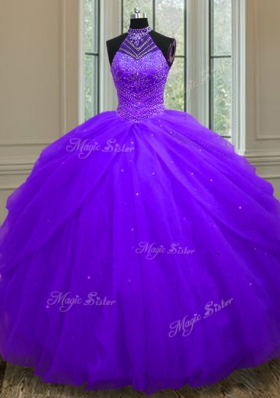 Dazzling Sequins Halter Top Sleeveless Lace Up Sweet 16 Dress Purple Tulle