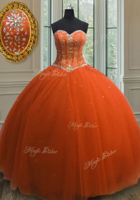 Free and Easy Sequins Orange Red Sleeveless Tulle Lace Up Sweet 16 Dresses for Military Ball and Sweet 16 and Quinceanera