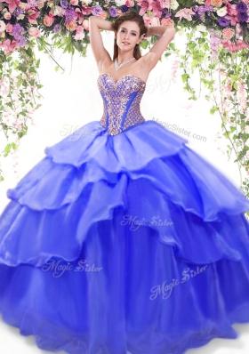 Discount Floor Length Blue Sweet 16 Dress Organza Sleeveless Beading and Ruffled Layers
