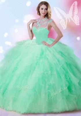 Excellent Apple Green Sleeveless Floor Length Beading and Ruffles and Sequins Zipper Sweet 16 Dress
