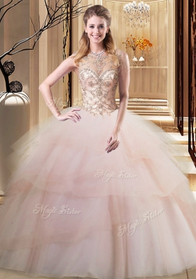 Decent Ruffled Scoop Sleeveless Brush Train Lace Up Quinceanera Dresses Peach Tulle