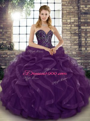 Floor Length Dark Purple Quinceanera Gown Tulle Sleeveless Beading and Ruffles