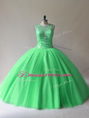 Wonderful Floor Length Lace Up Sweet 16 Dresses Green for Sweet 16 and Quinceanera with Beading