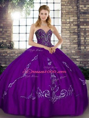 Purple Sweetheart Neckline Beading and Embroidery Sweet 16 Dresses Sleeveless Lace Up