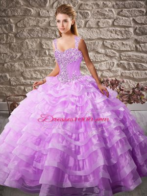 Lilac Ball Gowns Beading and Ruffled Layers Sweet 16 Quinceanera Dress Lace Up Organza Sleeveless Floor Length
