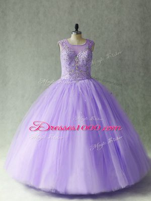 Custom Fit Sleeveless Tulle Floor Length Lace Up Sweet 16 Quinceanera Dress in Lavender with Beading