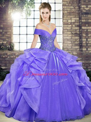 Lavender Quinceanera Gowns Military Ball and Sweet 16 and Quinceanera with Beading and Ruffles Off The Shoulder Sleeveless Lace Up