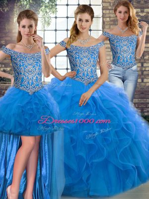 Sleeveless Beading and Ruffles Lace Up Sweet 16 Quinceanera Dress with Blue Brush Train