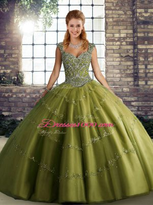 Pretty Olive Green Tulle Lace Up Sweet 16 Dress Sleeveless Floor Length Beading and Appliques