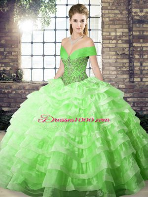 Sleeveless Brush Train Beading and Ruffled Layers Lace Up Quince Ball Gowns