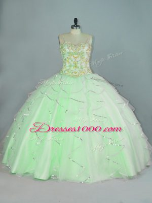Apple Green Lace Up Quinceanera Gowns Beading and Ruffles Sleeveless Floor Length