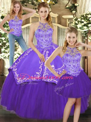 Beading and Embroidery Quinceanera Dresses Purple Lace Up Sleeveless Floor Length