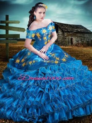 Blue Off The Shoulder Neckline Embroidery and Ruffles Quinceanera Dresses Sleeveless Lace Up