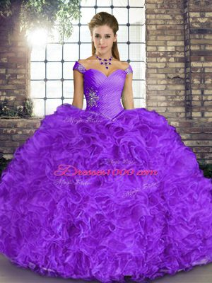 Classical Organza Off The Shoulder Sleeveless Lace Up Beading and Ruffles 15 Quinceanera Dress in Lavender