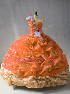 Cute Rust Red Lace Up One Shoulder Beading and Pick Ups and Hand Made Flower Sweet 16 Dresses Organza Sleeveless