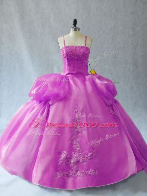 Colorful Lilac Straps Neckline Appliques Ball Gown Prom Dress Sleeveless Lace Up
