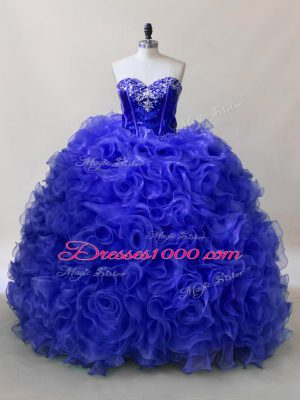 Sleeveless Fabric With Rolling Flowers Floor Length Lace Up 15 Quinceanera Dress in Royal Blue with Ruffles and Sequins