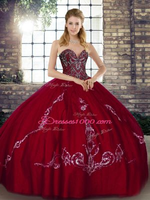 Wine Red Ball Gowns Sweetheart Sleeveless Tulle Floor Length Lace Up Beading and Embroidery 15th Birthday Dress