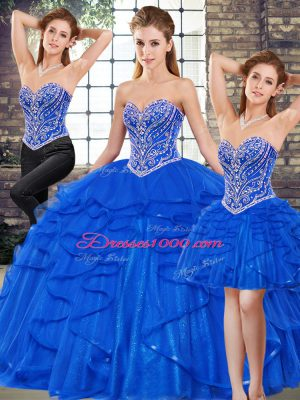 Floor Length Three Pieces Sleeveless Royal Blue 15 Quinceanera Dress Lace Up