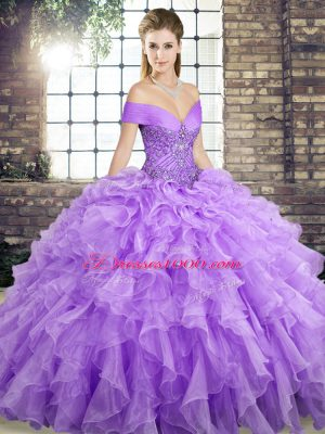 Popular Off The Shoulder Sleeveless Organza 15 Quinceanera Dress Beading and Ruffles Brush Train Lace Up