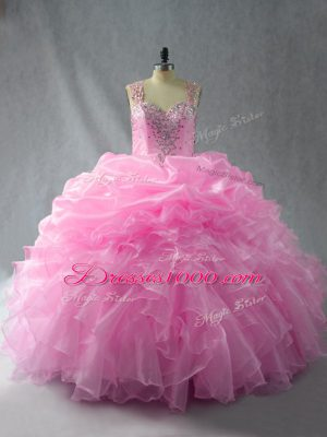 Straps Sleeveless Zipper Sweet 16 Dress Baby Pink Organza