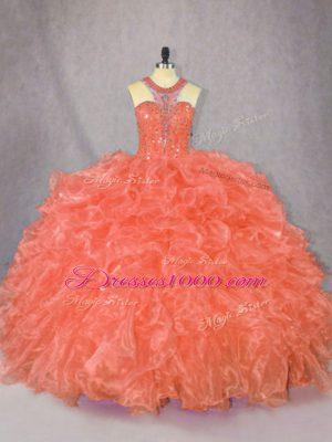 Scoop Sleeveless Zipper Sweet 16 Quinceanera Dress Orange Organza