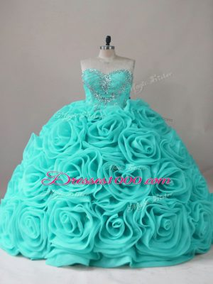 Glamorous Aqua Blue Ball Gowns Sweetheart Sleeveless Fabric With Rolling Flowers Lace Up Beading Quinceanera Dress