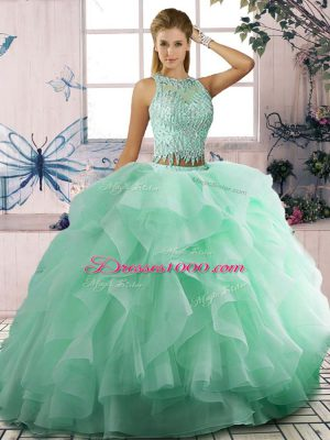 Apple Green Ball Gowns Scoop Sleeveless Tulle Floor Length Lace Up Beading and Ruffles Sweet 16 Dress