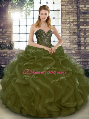 New Style Olive Green Tulle Lace Up Sweetheart Sleeveless Floor Length Ball Gown Prom Dress Beading and Ruffles