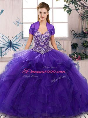 Purple Sleeveless Tulle Lace Up 15th Birthday Dress for Military Ball and Sweet 16 and Quinceanera