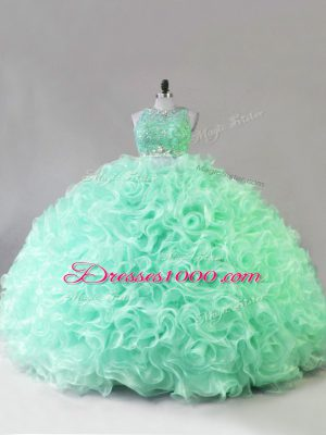 Suitable Beading and Ruffles Ball Gown Prom Dress Apple Green Zipper Sleeveless