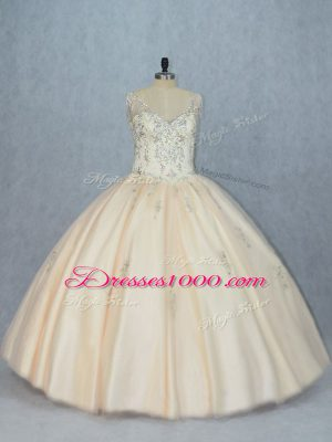 Champagne V-neck Neckline Beading Quinceanera Dresses Sleeveless Lace Up