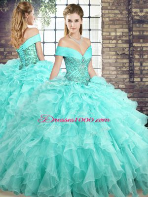 Dramatic Off The Shoulder Sleeveless Organza Quinceanera Gowns Beading and Ruffles Brush Train Lace Up