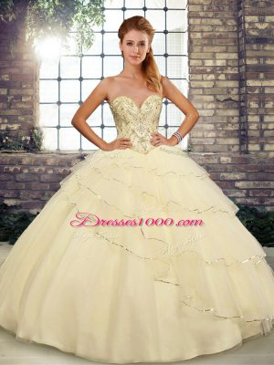 Brush Train Ball Gowns Quince Ball Gowns Light Yellow Sweetheart Tulle Sleeveless Lace Up
