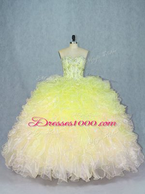 Amazing Multi-color Organza Lace Up Sweetheart Sleeveless Floor Length Quinceanera Gowns Beading and Ruffles