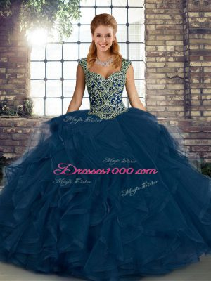 Straps Sleeveless 15 Quinceanera Dress Floor Length Beading and Ruffles Blue Tulle