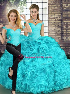 Elegant Aqua Blue Two Pieces Organza Off The Shoulder Sleeveless Beading and Ruffles Floor Length Lace Up Sweet 16 Dress