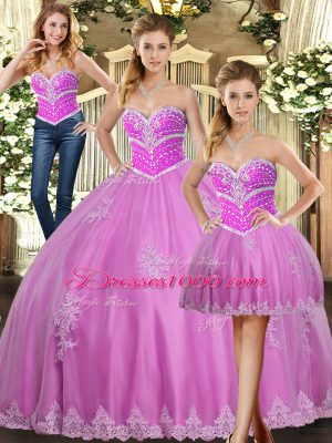 Sumptuous Lilac Sleeveless Beading and Appliques Floor Length Quince Ball Gowns