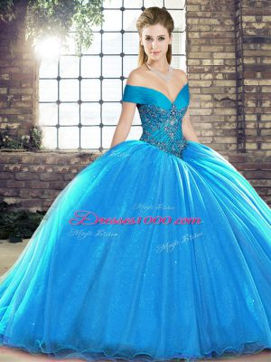 Brush Train Ball Gowns Quince Ball Gowns Blue Off The Shoulder Organza Sleeveless Lace Up
