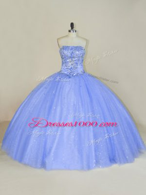 Lavender Tulle Lace Up Strapless Sleeveless Floor Length Sweet 16 Dress Beading and Sequins