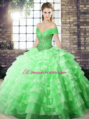 Sophisticated Sleeveless Brush Train Beading and Ruffled Layers Lace Up Quince Ball Gowns