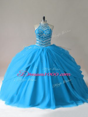 Floor Length Baby Blue Quinceanera Dresses Tulle Sleeveless Beading