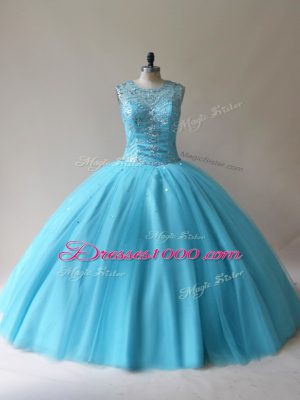 Floor Length Lace Up Ball Gown Prom Dress Baby Blue for Sweet 16 and Quinceanera with Beading
