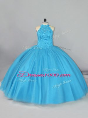 Fitting Aqua Blue Ball Gowns Halter Top Sleeveless Tulle Brush Train Lace Up Beading and Lace 15th Birthday Dress