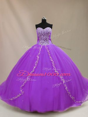 Sleeveless Court Train Beading Lace Up Ball Gown Prom Dress
